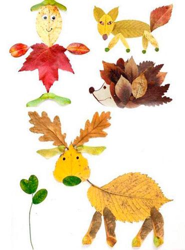 Картины из осенних листьев для детского сада: звери
