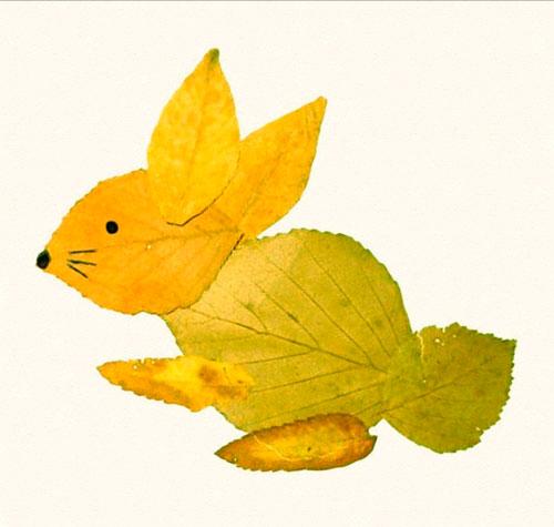 Картины из осенних листьев для детского сада: зайчик