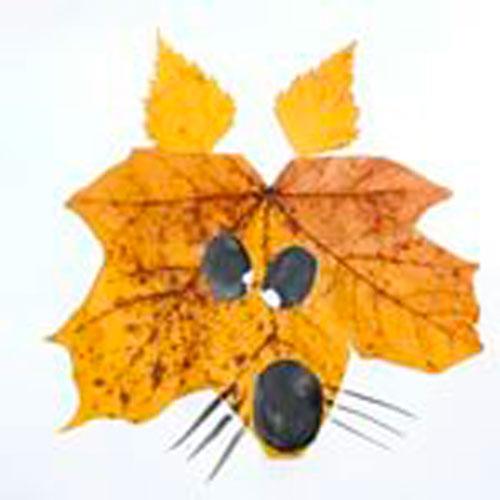 Картины из осенних листьев для детского сада: лиса