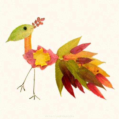 Картины из осенних листьев для детского сада: птица