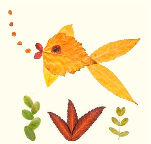 Картины из осенних листьев для детского сада: рыба
