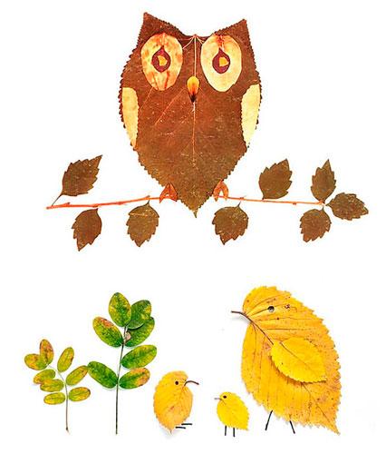 Картины из осенних листьев для детского сада: сова