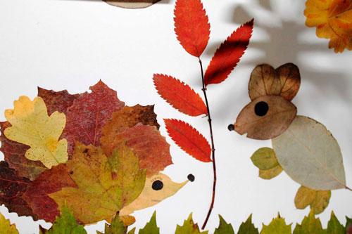 Картины из осенних листьев для детского сада: мышь