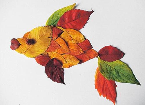 Картины из осенних листьев для детского сада: рыбка