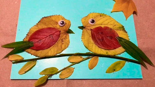 Картины из осенних листьев для детского сада: птички