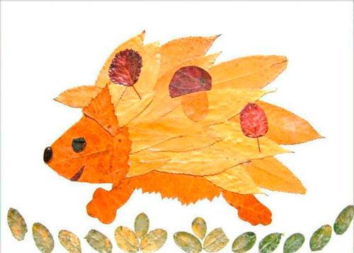 Картины из осенних листьев для детского сада: ёж