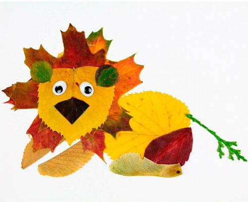 Картины из осенних листьев для детского сада: лев