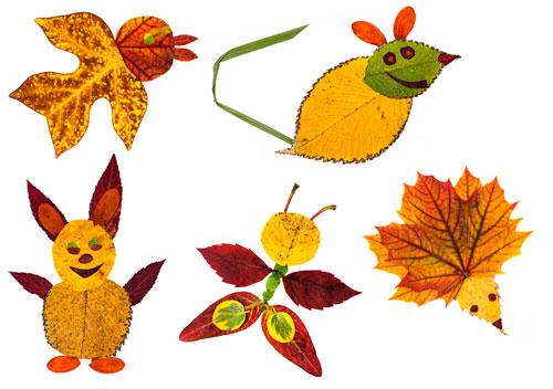 Картины из осенних листьев для детского сада: осень