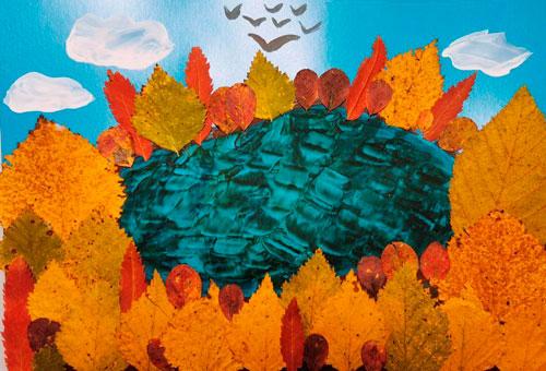 Картины из осенних листьев для детского сада: деревья