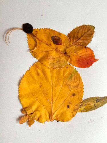 Картины из осенних листьев для детского сада: мышка