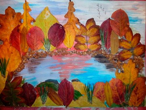 Картины из осенних листьев для детского сада: картина