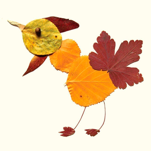 Картины из осенних листьев для детского сада: петушок