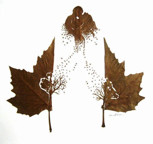 Красивые картины из осенних листьев