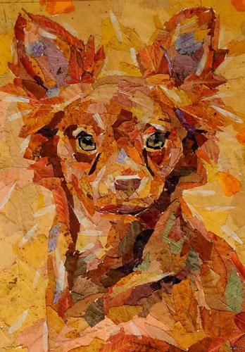 Красивые картины из осенних листьев: собака