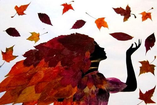 Красивые картины из осенних листьев: девушка