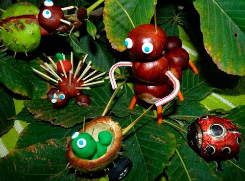 Идеи поделок своими руками на тему осень из каштанов: гусеница