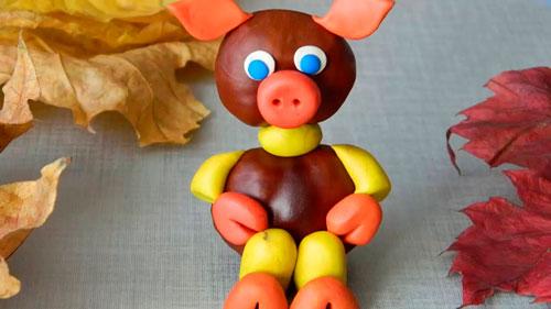 Идеи поделок своими руками на тему осень из каштанов: свинка