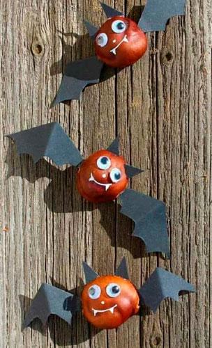 Идеи поделок своими руками на тему осень из каштанов: летучие мыши