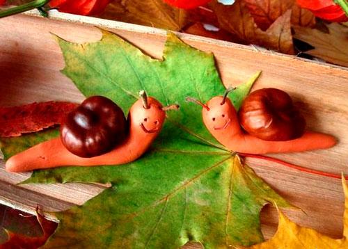 Идеи поделок своими руками на тему осень из каштанов: улитка