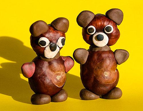 Идеи поделок своими руками на тему осень из каштанов: мишки