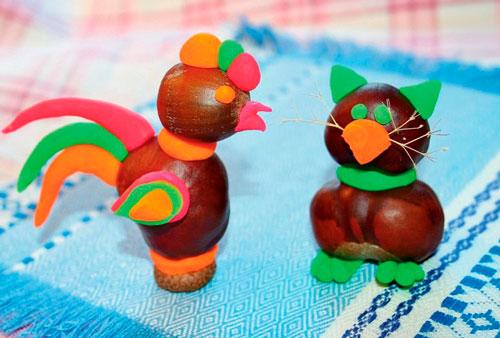 Идеи поделок своими руками на тему осень из каштанов: курица