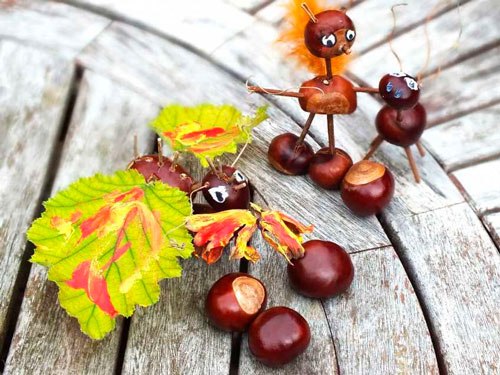 Идеи поделок своими руками на тему осень из каштанов