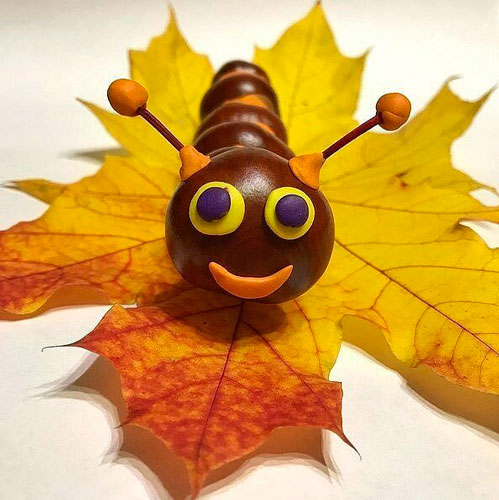 Идеи поделок своими руками на тему осень из каштанов: гусеничка