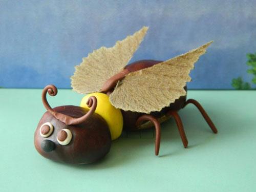 Идеи поделок своими руками на тему осень из каштанов: жук