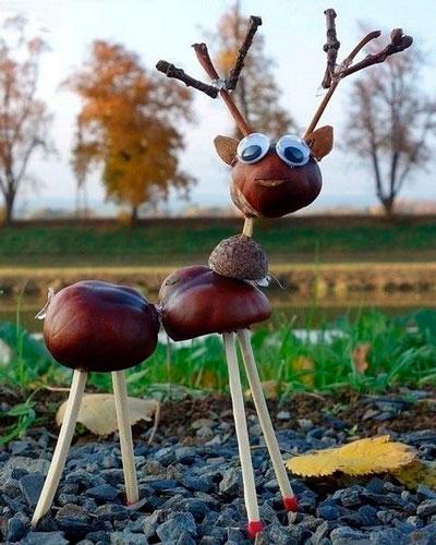 Идеи поделок своими руками на тему осень из каштанов: олень