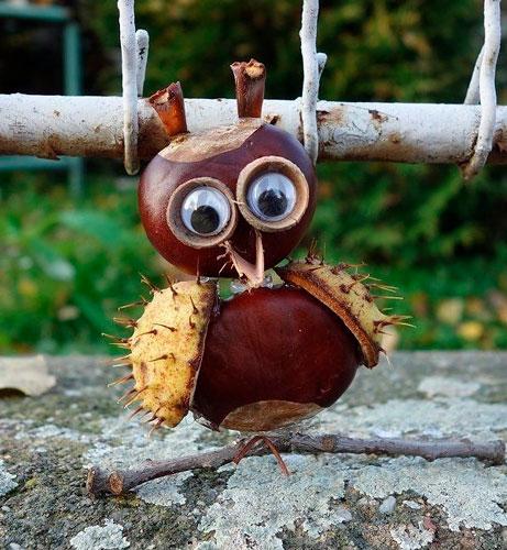 Идеи поделок своими руками на тему осень из каштанов: сова