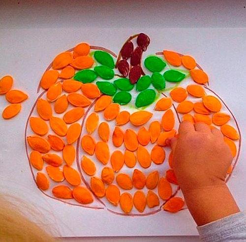 Идеи поделок своими руками на тему осень из семечек: тыква