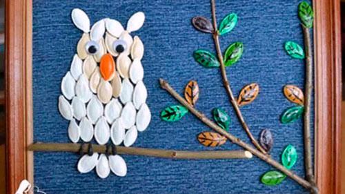 Идеи поделок своими руками на тему осень из семечек: сова