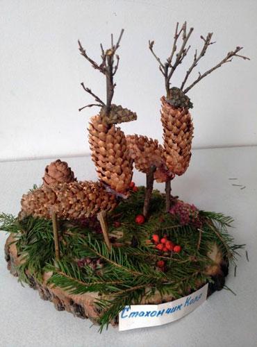 Идеи поделок своими руками тема осень из шишек: олени