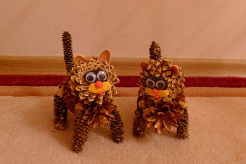 Идеи поделок своими руками тема осень из шишек: коты