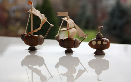 Идеи поделок своими руками на тему осень из желудей: кораблик