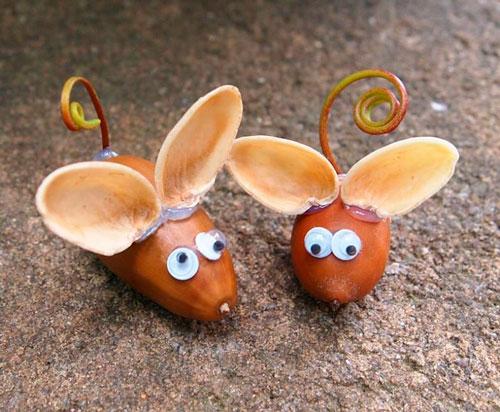 Идеи поделок своими руками на тему осень из желудей: мышки