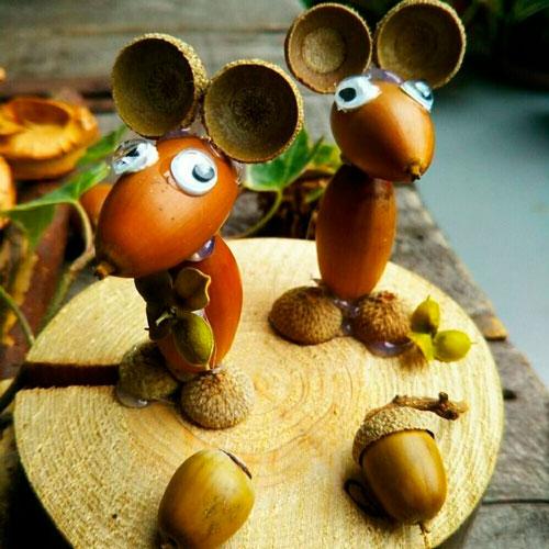 Идеи поделок своими руками на тему осень из желудей: мышы