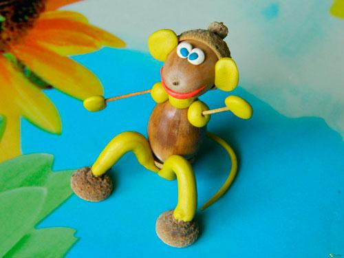 Идеи поделок своими руками на тему осень из желудей: обезьянка